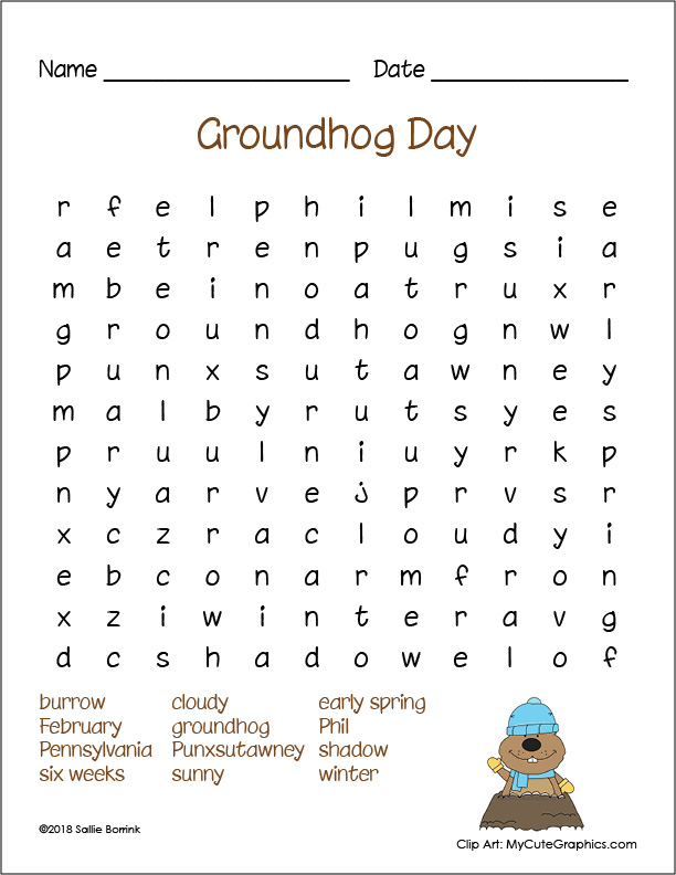 Resource image with groundhog printable