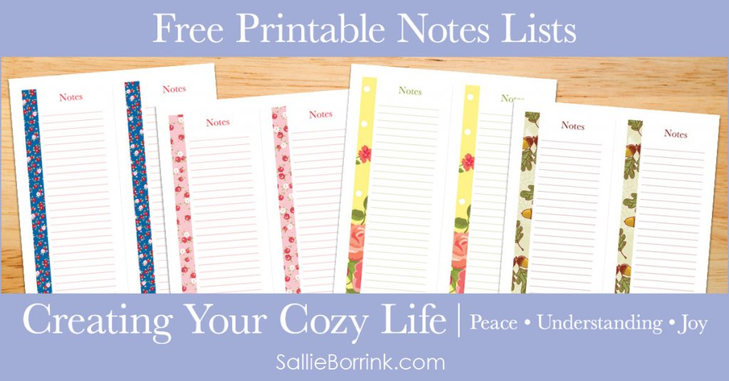 Free Printable Notes Lists - Creating Your Cozy Life Planner 2