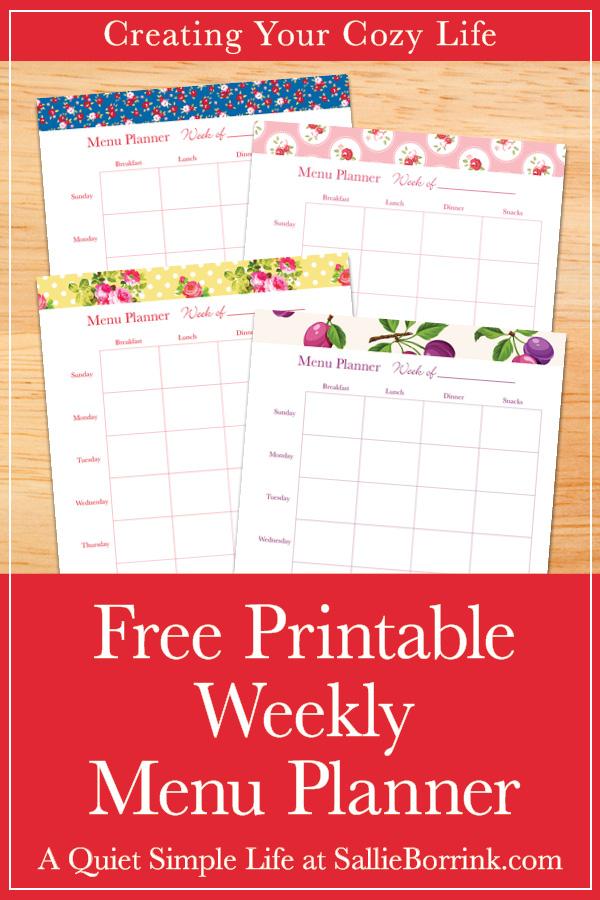 image regarding Printable Menu named Free of charge Printable Weekly Menu Planner - A Calm Straightforward Lifetime