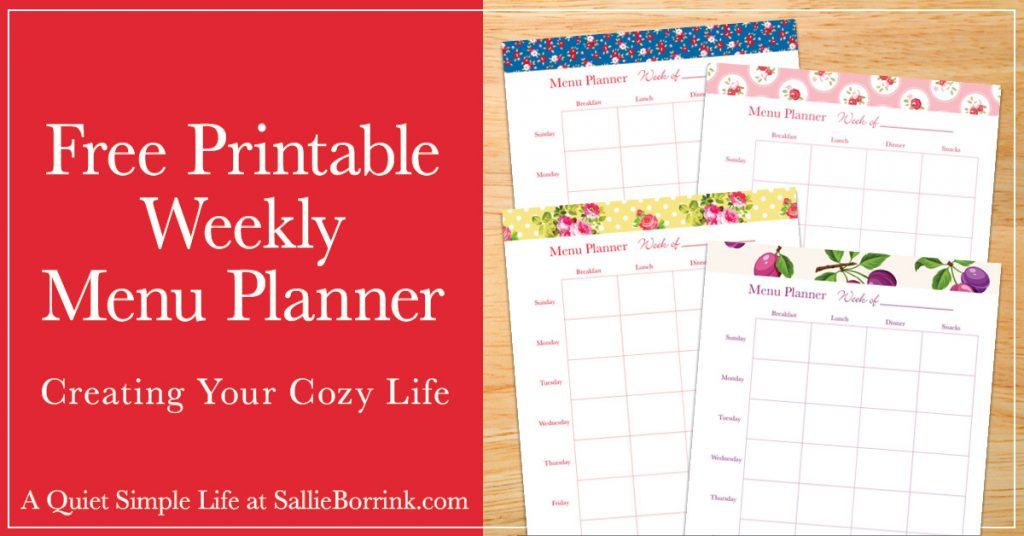 image relating to Printable Dinner Planner identified as Cost-free Printable Weekly Menu Planner - A Serene Straightforward Everyday living