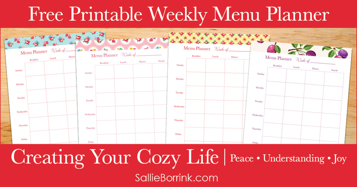 Free Printable Weekly Menu Planner - Creating Your Cozy Life Planner 2