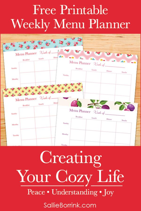Free Printable Weekly Menu Planner - Creating Your Cozy Life Planner