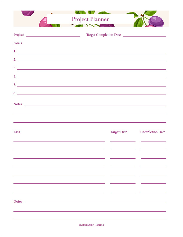 photo regarding Free Printable Project Planner named task planner printable -