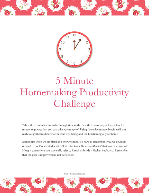 5 Minute Homemaking Challenge