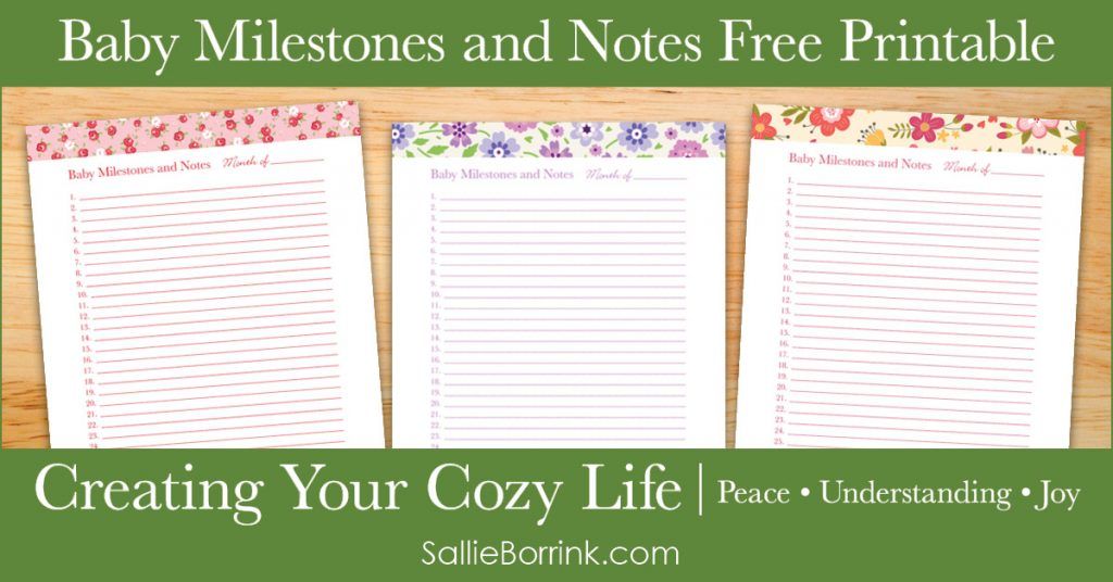 Baby Milestones and Notes Free Printable - Creating Your Cozy Life Planner 2