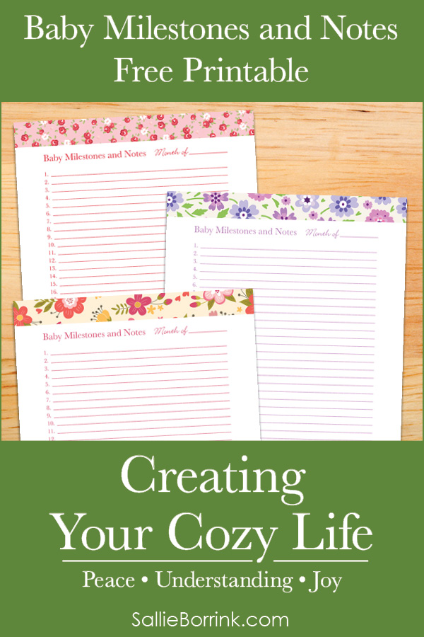 Baby Milestones and Notes Free Printable - Creating Your Cozy Life Planner