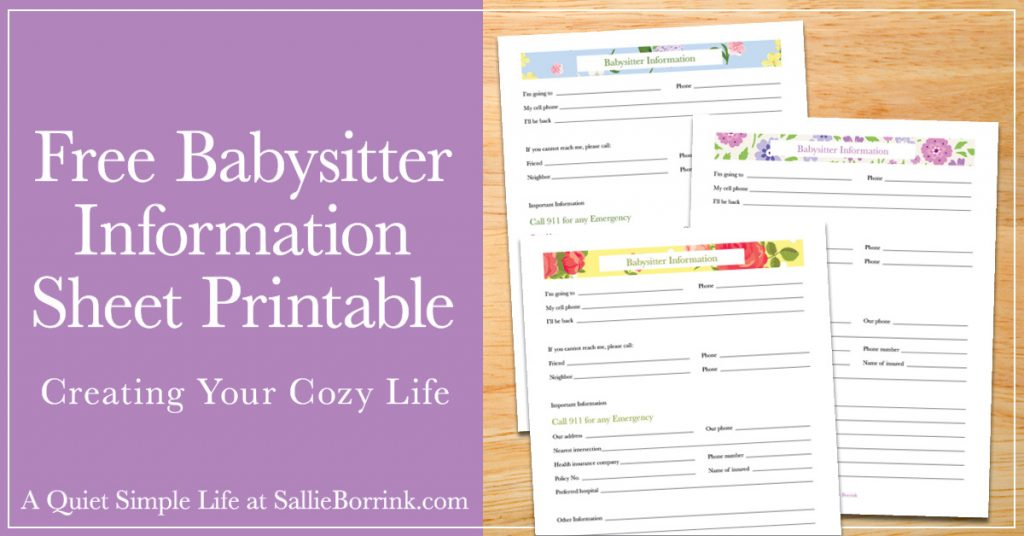picture regarding Babysitter Info Sheet Printable named Cost-free Babysitter Articles Sheet Printable - A Calm Straightforward