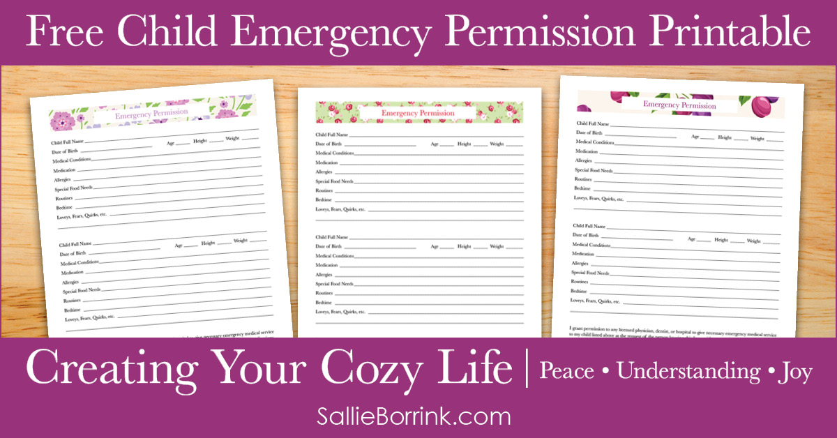 Free Child Emergency Permission Printable - Creating Your Cozy Life Planner 2