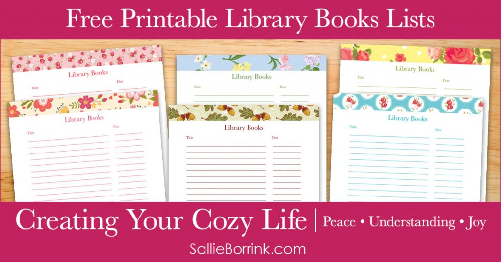 Free Printable Library Books Lists - Creating Your Cozy Life Planner 2