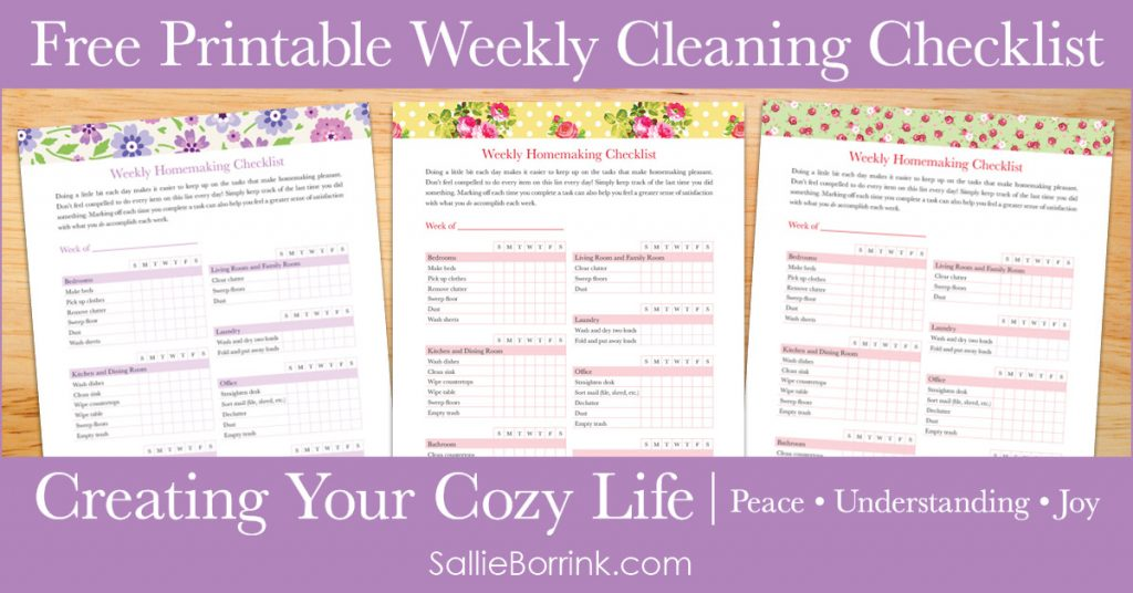 Free Printable Weekly Cleaning Checklist - Creating Your Cozy Life Planner 2