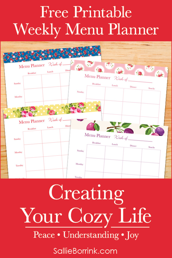 Free Printable Weekly Menu Planner - Creating Your Cozy Life Planner