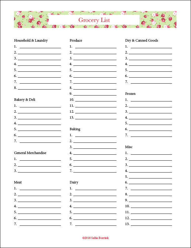 picture regarding Printable Grocery List by Category named Cost-free Printable Grocery Lists - A Tranquil Uncomplicated Lifetime with