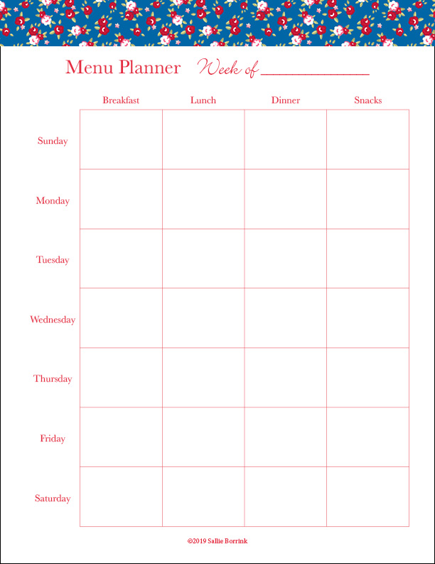 photo relating to Printable Weekly Menu Planner titled Free of charge Printable Weekly Menu Planner - A Serene Very simple Daily life