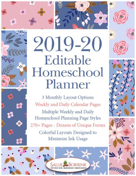 2019-20 Blue and Peach Flowers Homeschool Planner