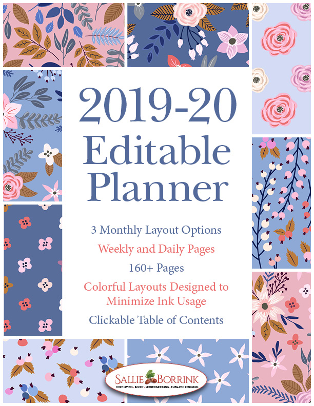 2019-20 Blue and Peach Flowers Planner