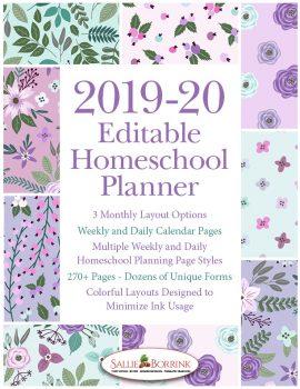 2019-20 Lavender and Teal Flowers Homeschool Planner