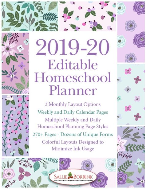 2019-20 Lavender and Teal Flowers Homeschool Planner