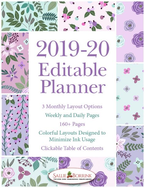 2019-20 Lavender and Teal Flowers Planner