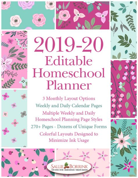 2019-20 Pink and Teal Flowers Homeschool Planner