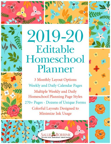 2019-20 Turquoise and Orange Flowers Homeschool Planner