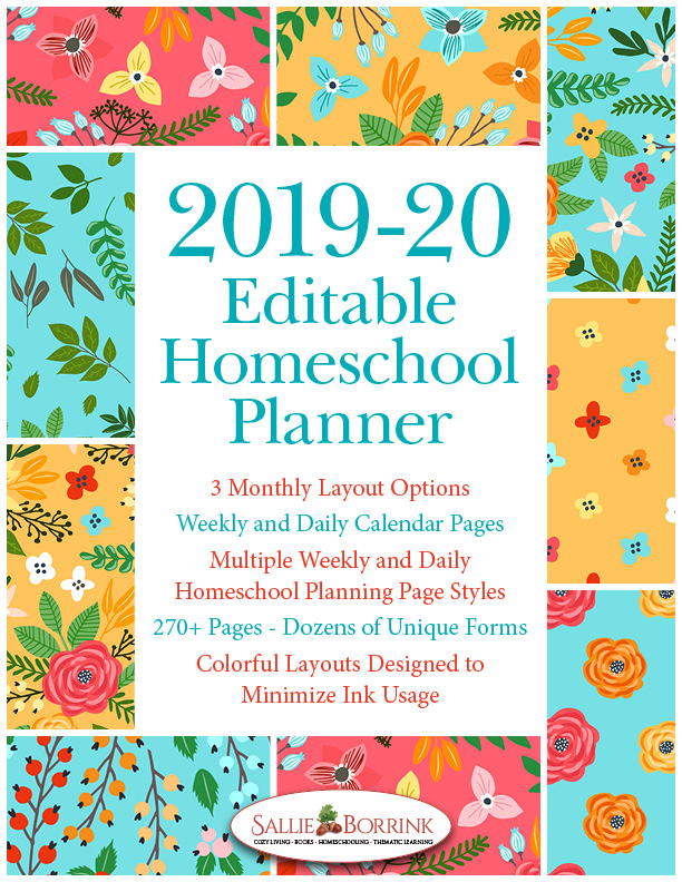 Editable Homeschool Planner – Turquoise and Orange Flowers
