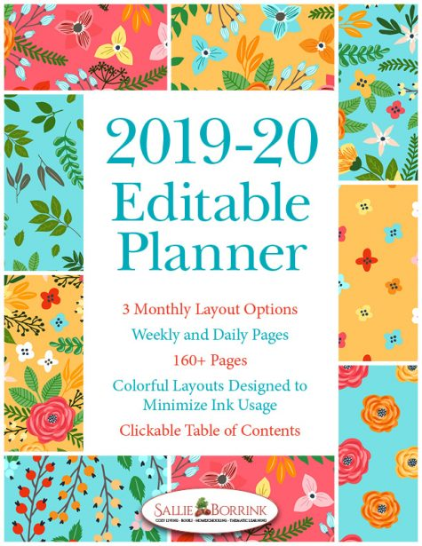 2019-20 Turquoise and Orange Flowers Planner