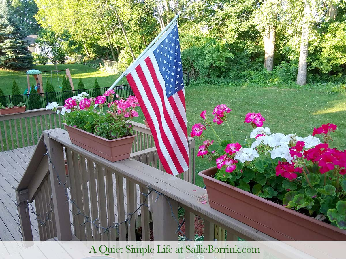 Geraniums and American Flag on Our Backyard Deck