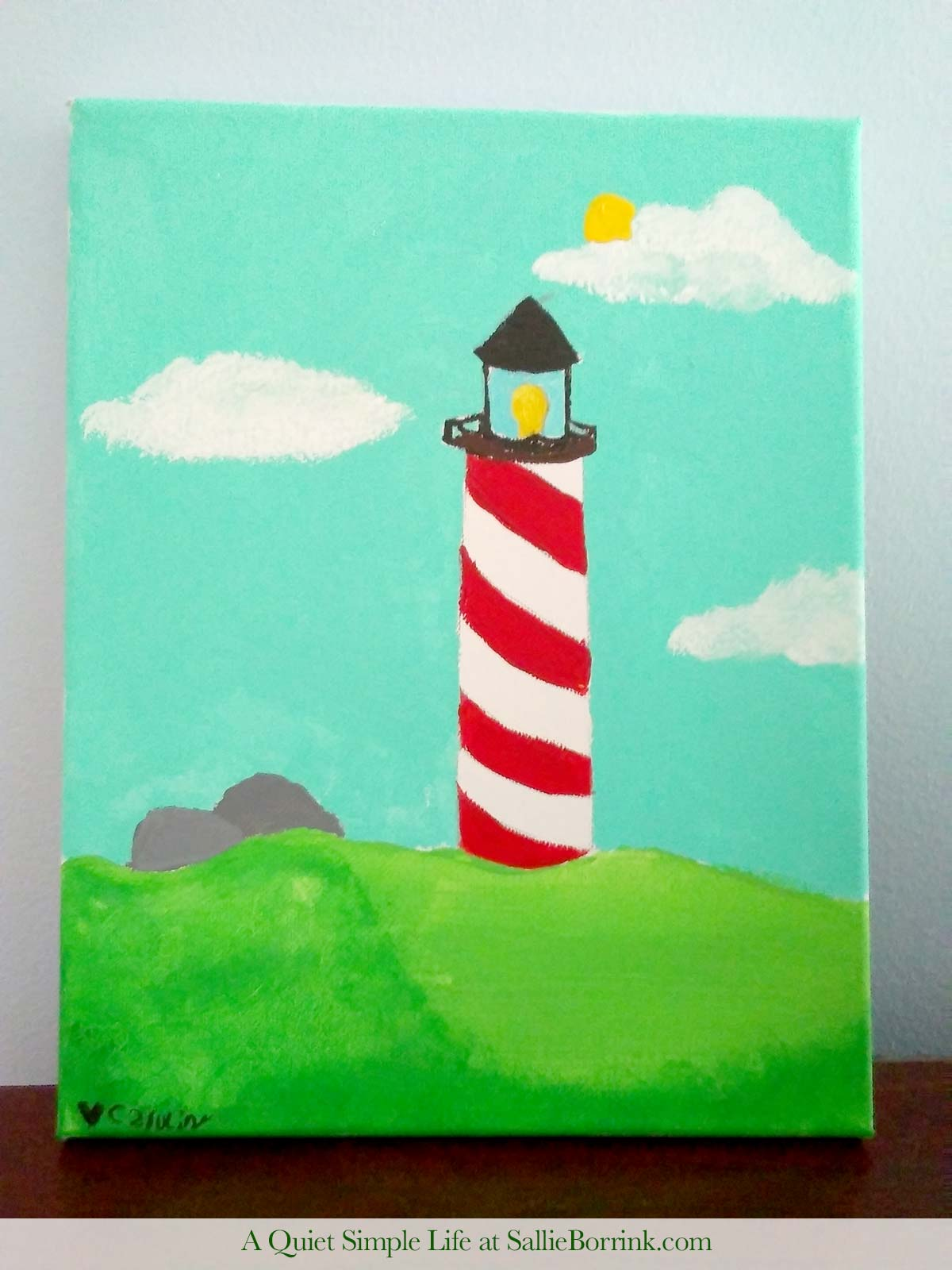 Red and White Striped Lighthouse Painting by Caroline