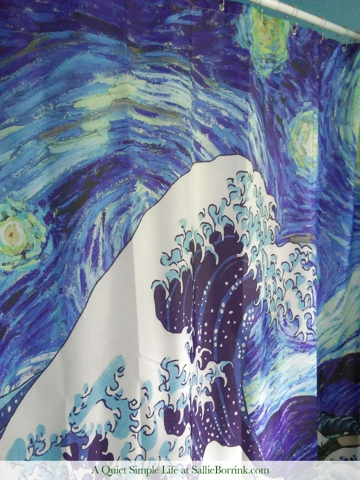 Shower Curtain with Starry Night and The Wave