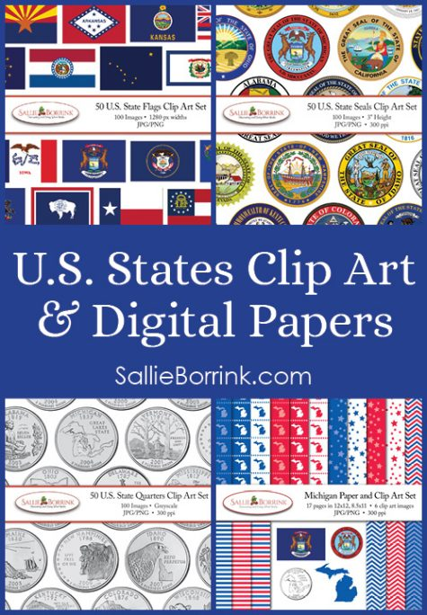 U. S. States Clip Art & Digital Papers