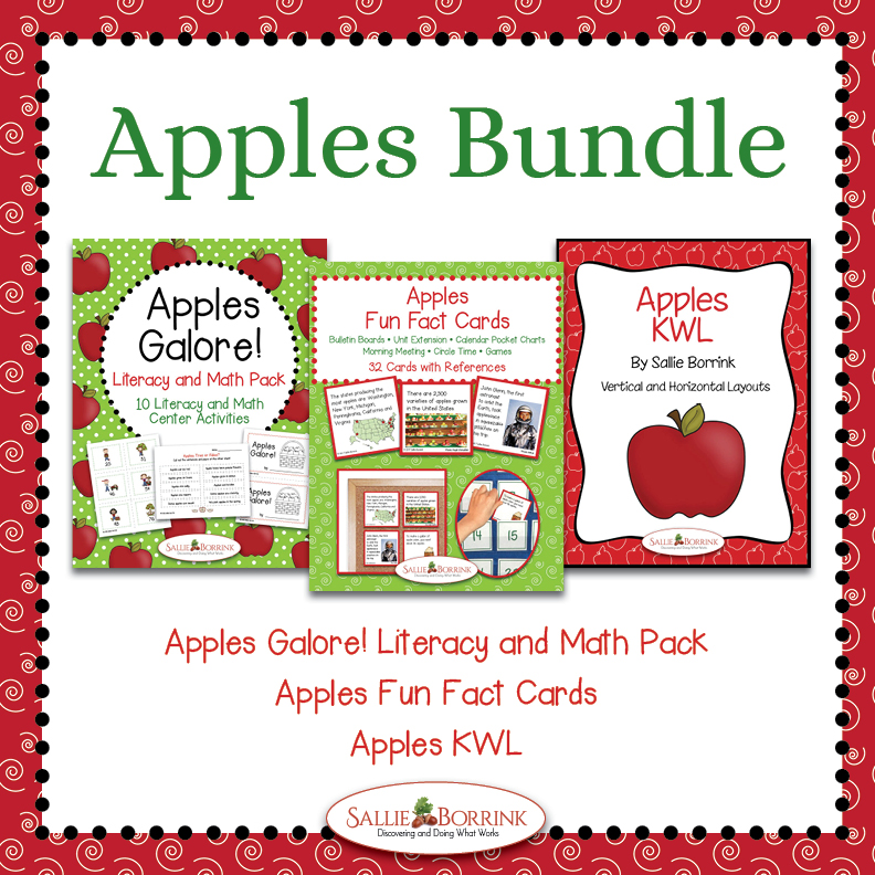 Apples Unit Bundle with Literacy and Math Activities, Fun Fact Cards and KWL