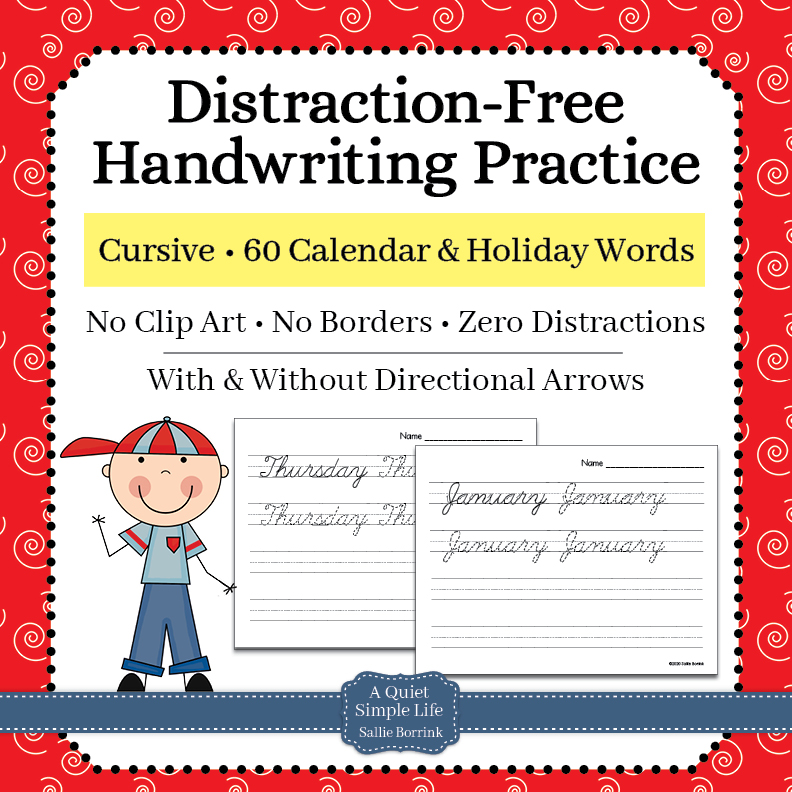 Cursive Handwriting Practice – 60 Calendar and Holiday Words