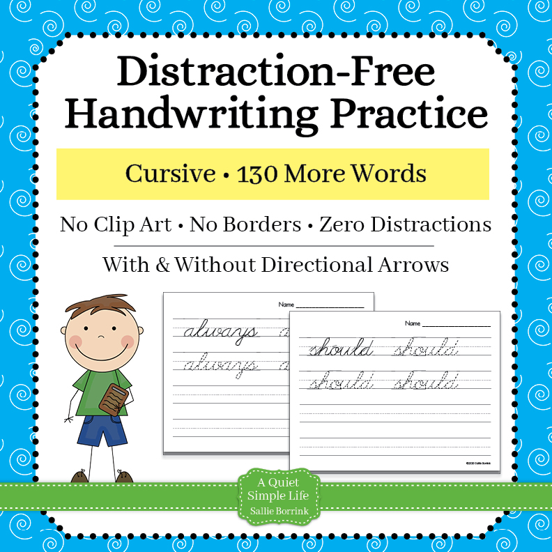 Cursive Handwriting Worksheets – 130 More Words - A Quiet Simple Life With  Sallie Borrink