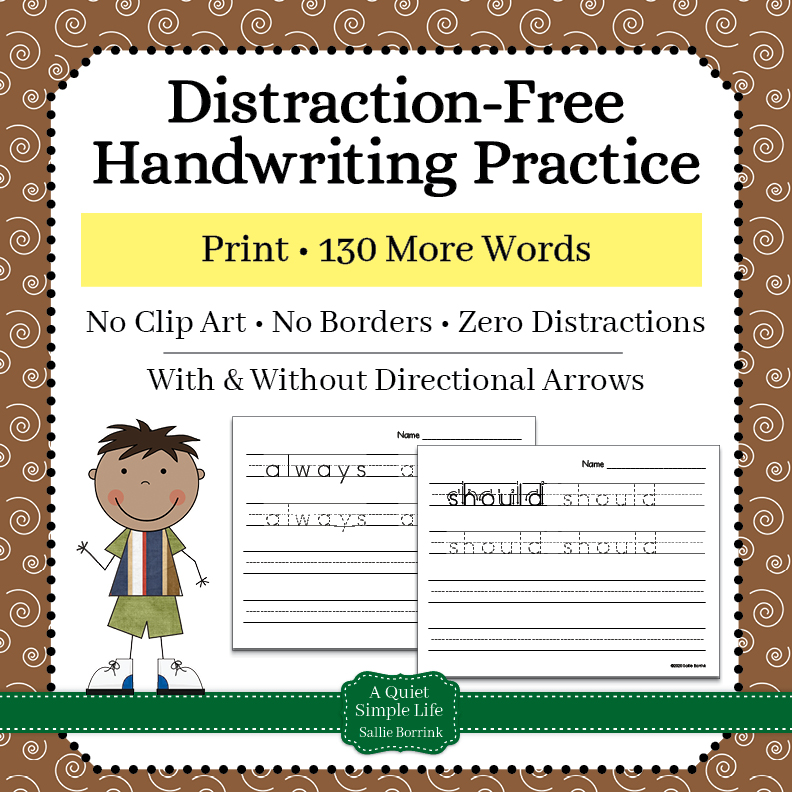 Print Handwriting Worksheets – 130 More Words