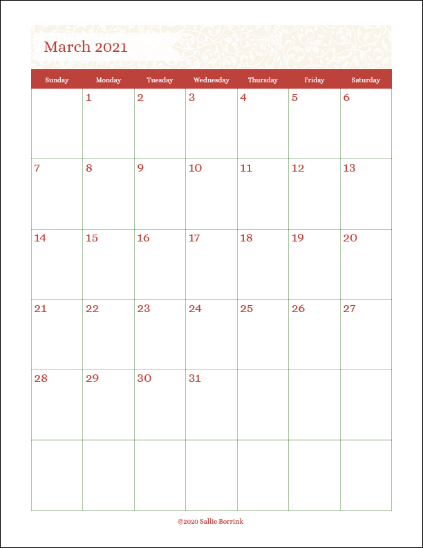 Free Printable Monthly Calendars 2020 & 2021 - A Quiet ...