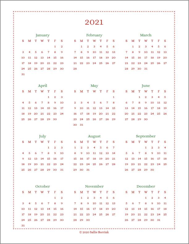 2021 At A Glance Calendar