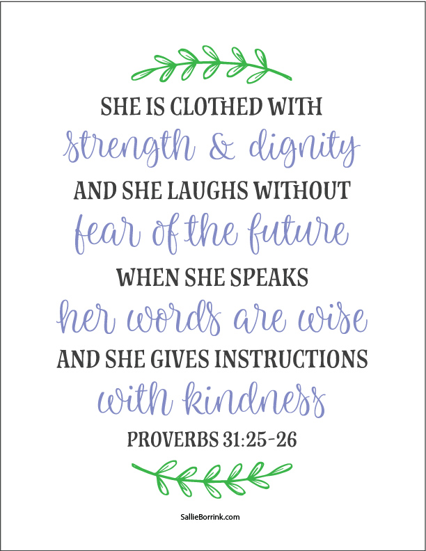 She is Clothed… Proverbs 31:25-26 Artwork
