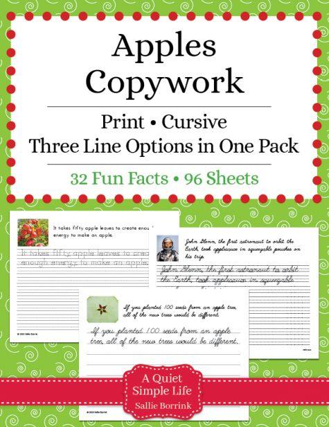 Apples Copywork – Print and Cursive
