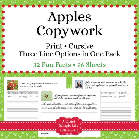Apples Copywork – Print and Cursive