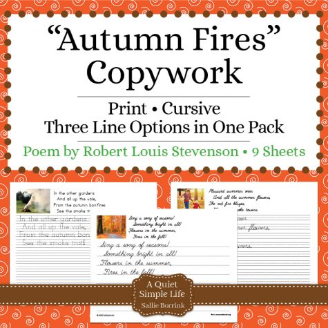 """Autumn Fires"" Fall Copywork"