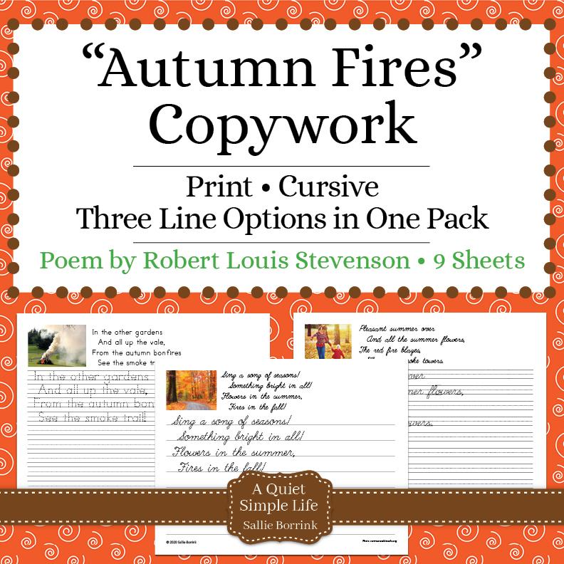 """Autumn Fires"" Fall Copywork – Free"