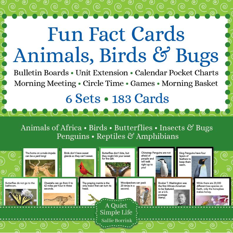 Animals, Birds, & Bugs Fun Fact Cards Bundle