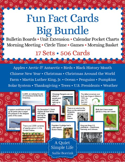 Fun Fact Cards Bundle – 17 Sets of Cards for Bulletin Boards, Games, Units
