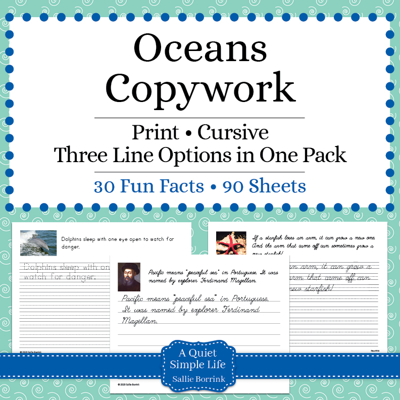 Oceans Copywork – Print & Cursive