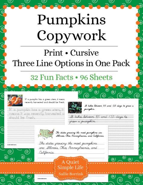 Pumpkins Copywork – Print and Cursive