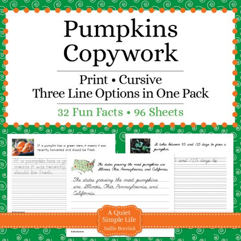 Pumpkins Copywork – Print and Cursive