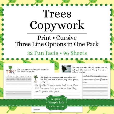 Trees Copywork – Print and Cursive