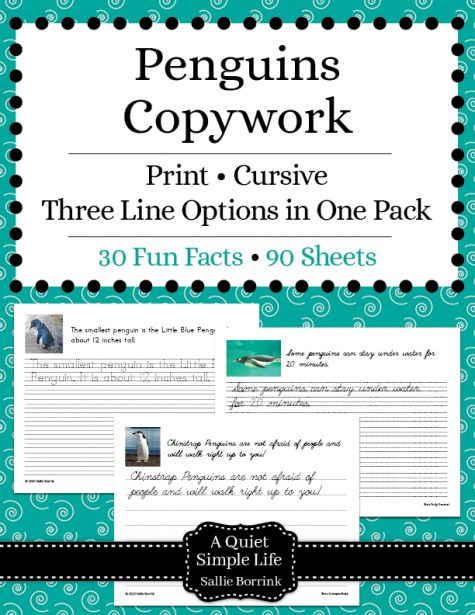 Penguins Copywork – Print and Cursive