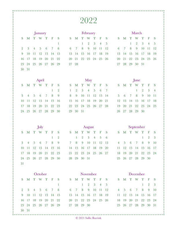 At A Glance Calendar 2022.Year At A Glance Calendars 2021 2022 A Quiet Simple Life With Sallie Borrink