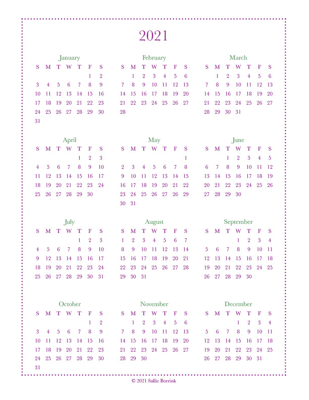 2022 Calendar At A Glance.Year At A Glance Calendars 2021 2022 A Quiet Simple Life With Sallie Borrink